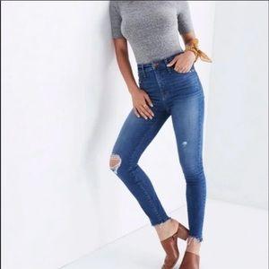 Madewell Curvy High Rise Distressed Raw Hem Jeans